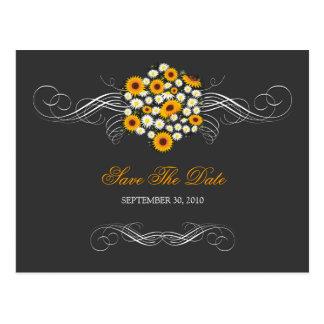 Elegant Sunflowers & Daisies Bouquet Save the Date Postcard