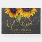 Elegant sunflowers fall typography script wedding guest book