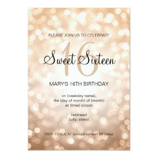 "Elegant Sweet 16 Birthday Copper Glitter Lights 5"" X 7"" Invitation Card"