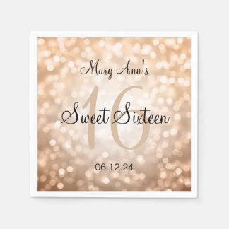 Elegant Sweet 16 Birthday Copper Glitter Lights Disposable Napkins