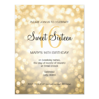 Elegant Sweet 16 Birthday Gold Glitter Lights Card