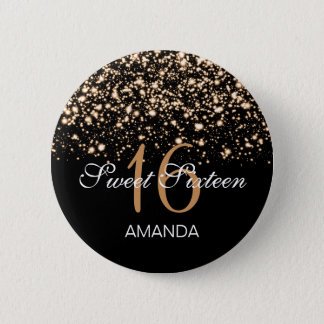 Elegant Sweet 16 Birthday Midnight Glam Gold 2 Inch Round Button