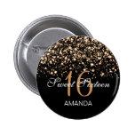 Elegant Sweet 16 Birthday Midnight Glam Gold 2 Inch Round Button