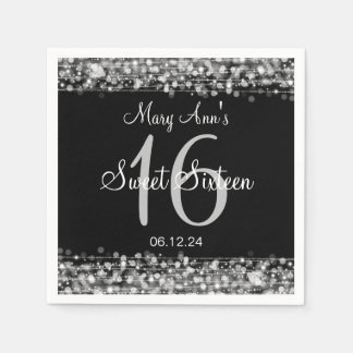 Elegant Sweet 16 Birthday Party Sparkles Silver Disposable Napkins