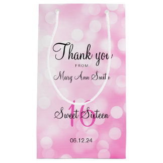 Elegant Sweet 16 Birthday Pink Glitter Lights Small Gift Bag