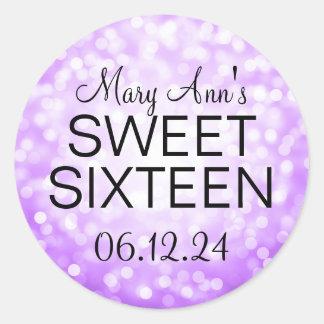 Elegant Sweet 16 Birthday Purple Glitter Lights Round Sticker