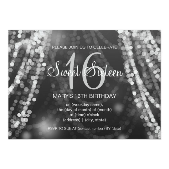 Elegant Sweet 16 Birthday Silver String Lights Card