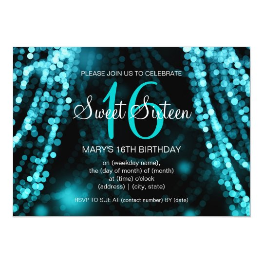 Elegant Sweet 16 Birthday Turquoise String Lights Card