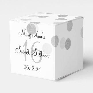 Elegant Sweet 16 Faux Silver Foil Glitter Lights Party Favor Boxes