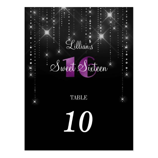 Elegant sweet 16 table number postcard