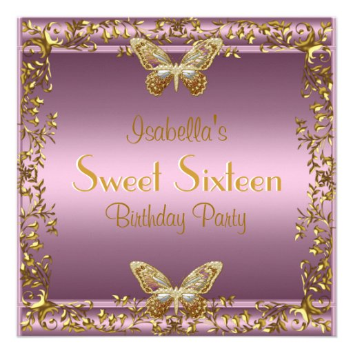 Elegant Sweet Sixteen Birthday Pink Gold Butterfly Custom Announcements