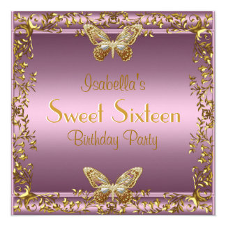 """Elegant Sweet Sixteen Birthday Pink Gold Butterfly 5.25"""" Square Invitation Card"""