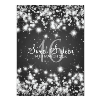 "Elegant Sweet Sixteen Party Winter Sparkle Black 6.5"" X 8.75"" Invitation Card"