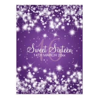 "Elegant Sweet Sixteen Party Winter Sparkle Purple 6.5"" X 8.75"" Invitation Card"