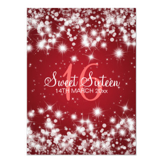 Elegant Sweet Sixteen Party Winter Sparkle Red Custom Invitations
