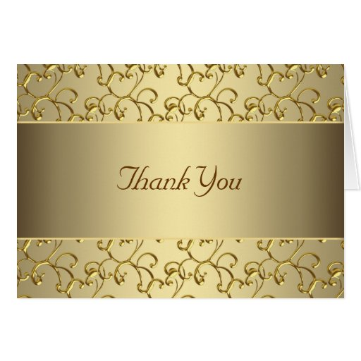 Elegant Swirl Gold Thank You Cards