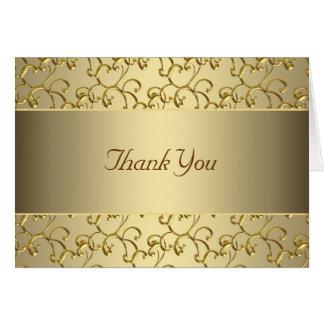 Elegant Swirl Gold Thank You Note Card