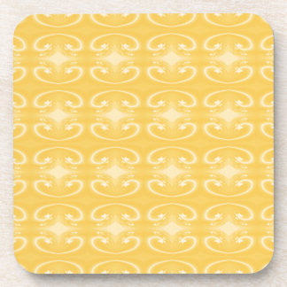 Elegant Swirl Pattern in Golden Yellow Colors. Coaster
