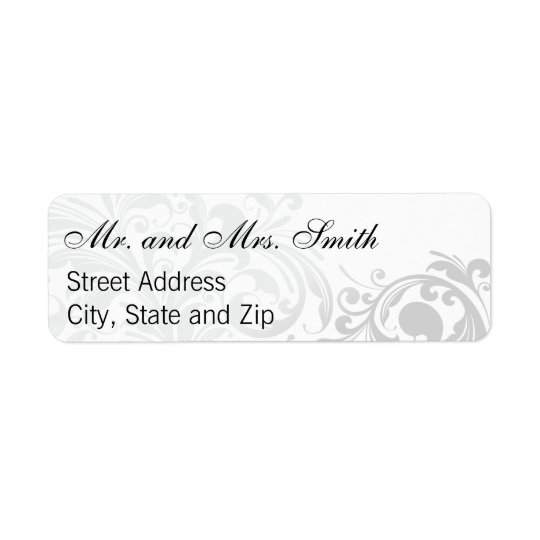 Elegant Swirl Return Labels - Silver