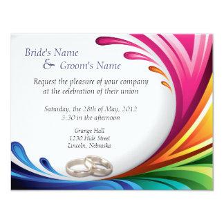 "Elegant Swirling Rainbow Splash Invite - 4B 4.25"" X 5.5"" Invitation Card"