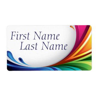 Elegant Swirling Rainbow Splash - Name Label - 1