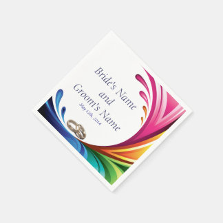 Elegant Swirling Rainbow Splash Napkin - 2 Disposable Napkins