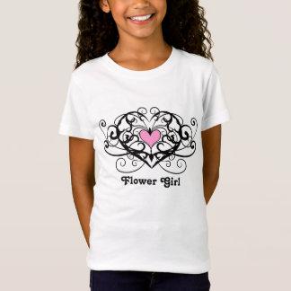 Elegant swirls and hearts flower girl T-Shirt