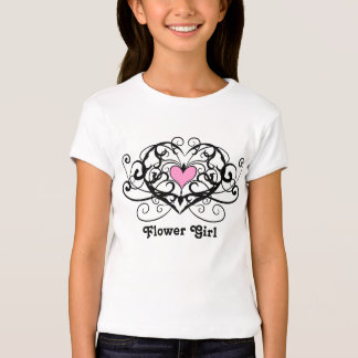 Elegant swirls and hearts flower girl tshirt