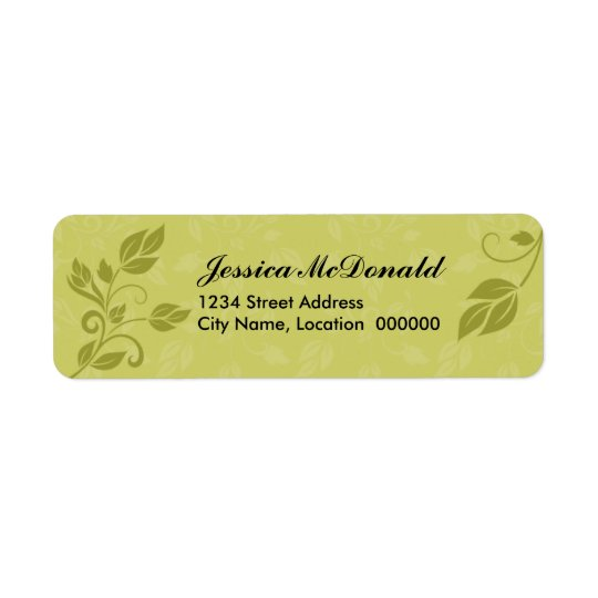 Elegant Swirls and Leaves Return Address Label