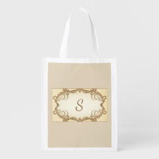 Elegant Swirls and Monogram Reusable Grocery Bag