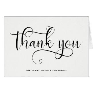 Elegant Swirls | Black and White Wedding Thank You Card