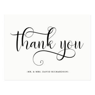 Elegant Swirls | Black and White Wedding Thank You Postcard