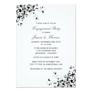 "Elegant Swirls Black & White Engagement Party 5"" X 7"" Invitation Card"