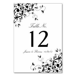 Elegant Swirls Black & White Wedding Table Number Table Cards