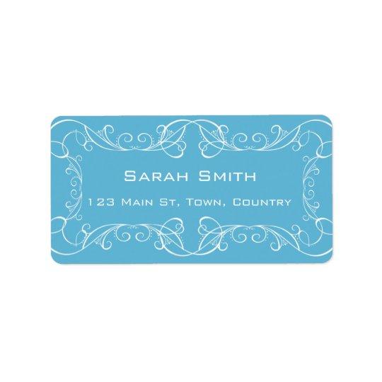 Elegant Swirls Blue Wedding Return RSVP Labels