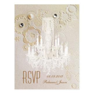 elegant swirls chandelier vintage wedding rsvp postcard