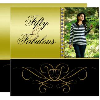 Elegant Swirls & Diamond Fabulous 50 Photo Women's Card