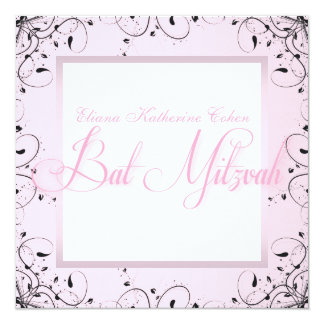 Elegant Swirls Pink Black Bat Mitzvah Invitations