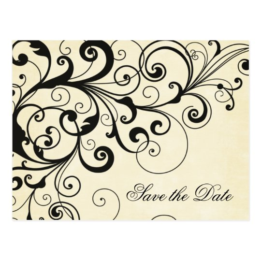 Elegant swirls save the date announcement postcard