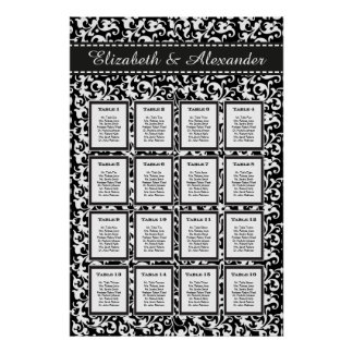 Elegant Swirls Wedding 16 Table Seating Chart Posters