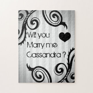 Elegant swirly black and gray style proposal puzzle