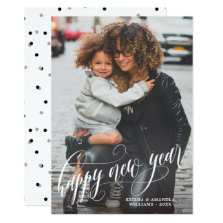 Elegant Swirly Happy New Year Photo Card