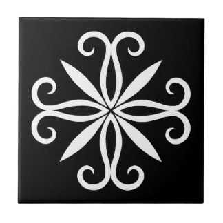 Elegant swirly white motif tiles