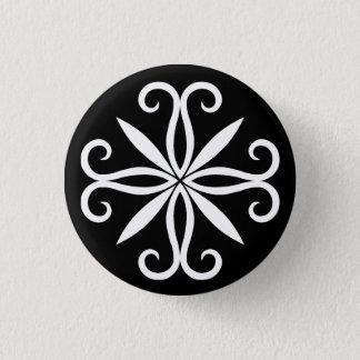Elegant swirly white small 1 inch round button