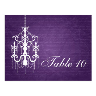 Elegant Table Number Chandelier Purple Postcard