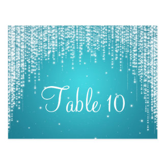 Elegant Table Number Night Dazzle Blue Post Cards
