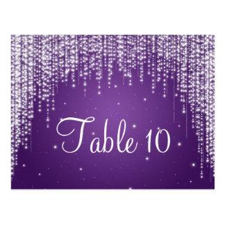 Elegant Table Number Night Dazzle Purple Post Cards