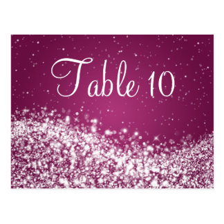 Elegant Table Number Sparkling Wave Plum Postcard