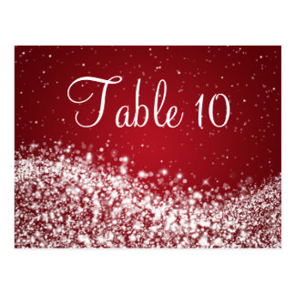 Elegant Table Number Sparkling Wave Red Postcard