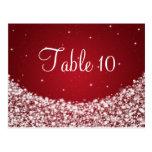 Elegant Table Number Star Sparkle Red Postcard